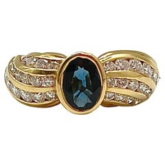 Art Deco Sapphire and Brilliant Cut Diamonds Yellow Gold Cocktail Ring