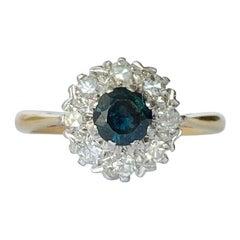 Art Deco Sapphire and Diamond 18 Carat and Platinum Cluster Ring