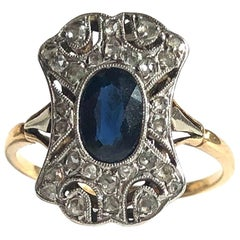 Art Deco Sapphire and Diamond 18 Carat Gold and Platinum Panel Ring