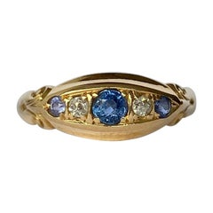 Art Deco Sapphire and Diamond 18 Carat Gold Band