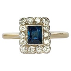 Art Deco Sapphire and Diamond 18 Carat Gold Cluster Ring