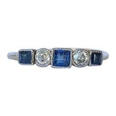 Art Deco Sapphire and Diamond 18 Carat Gold Five-Stone Ring