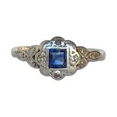 Art Deco Sapphire and Diamond 18 Carat Gold Panel Ring