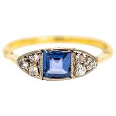 Art Deco Sapphire and Diamond 18 Carat Gold Ring