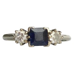Art Deco Sapphire and Diamond 18 Carat Gold Three-Stone Ring