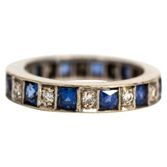 Art Deco Sapphire and Diamond 18 Carat White Gold Eternity Band