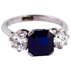 Post-War Sapphire and Diamond 18 Carat White Gold Three-Stone