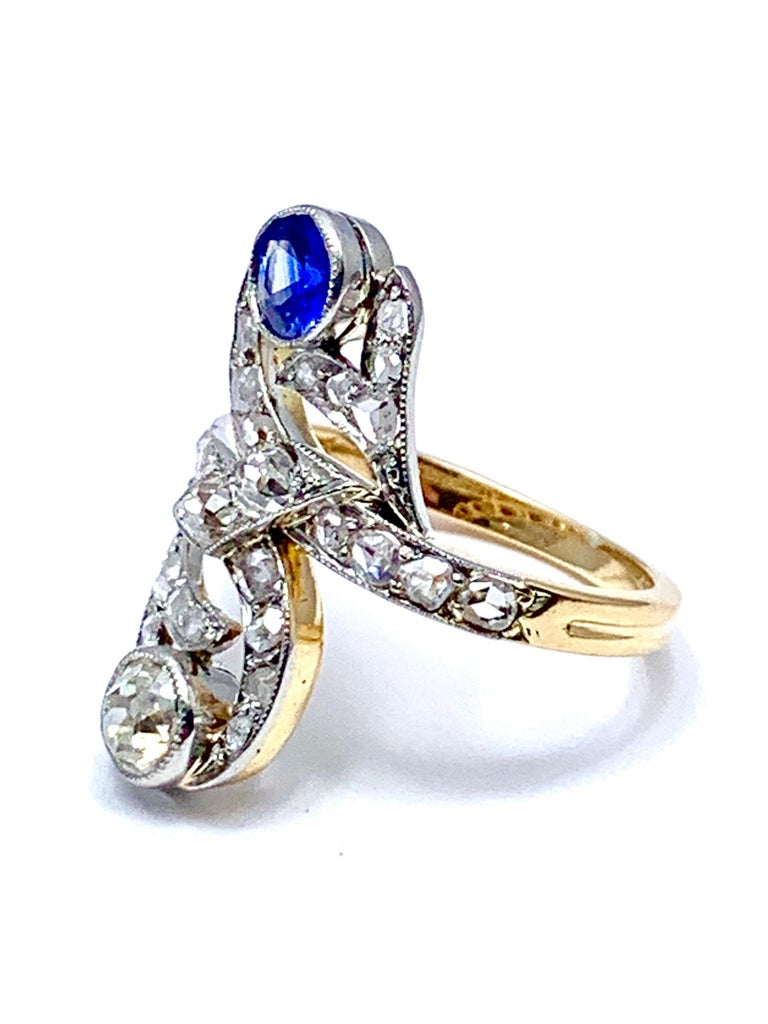 Art Deco Sapphire and Diamond 18 Karat Cocktail Ring In Excellent Condition For Sale In Washington, DC