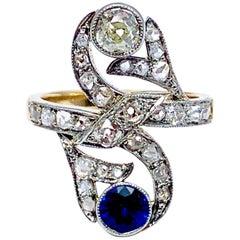 Art Deco Sapphire and Diamond 18 Karat Cocktail Ring
