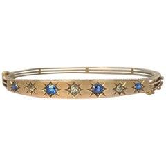 Art Deco Sapphire and Diamond 9 Carat Gold Bangle