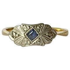 Art Deco Sapphire and Diamond 9 Carat Gold Panel Ring