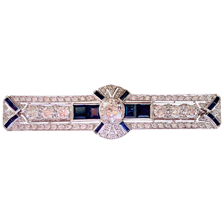 Art Deco Sapphire and Diamond Bar Pin Platinum
