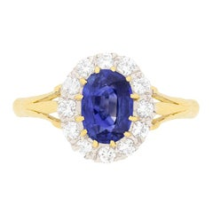 Art Deco Sapphire and Diamond Cluster Engagement Ring, circa 1930s