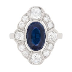 Art Deco Sapphire and Diamond Cluster Ring, circa 1920s