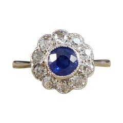 Art Deco Sapphire and Diamond Cluster Ring in 18ct White Gold