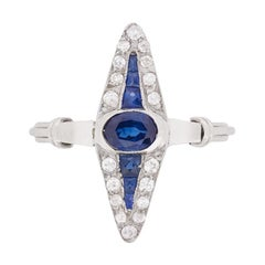 Art Deco Sapphire and Diamond Dress Ring, circa 1920s