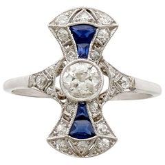 Art Deco Sapphire and Diamond Dress Ring