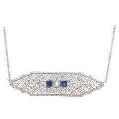 Art Deco Sapphire and Diamond Filigree Necklace