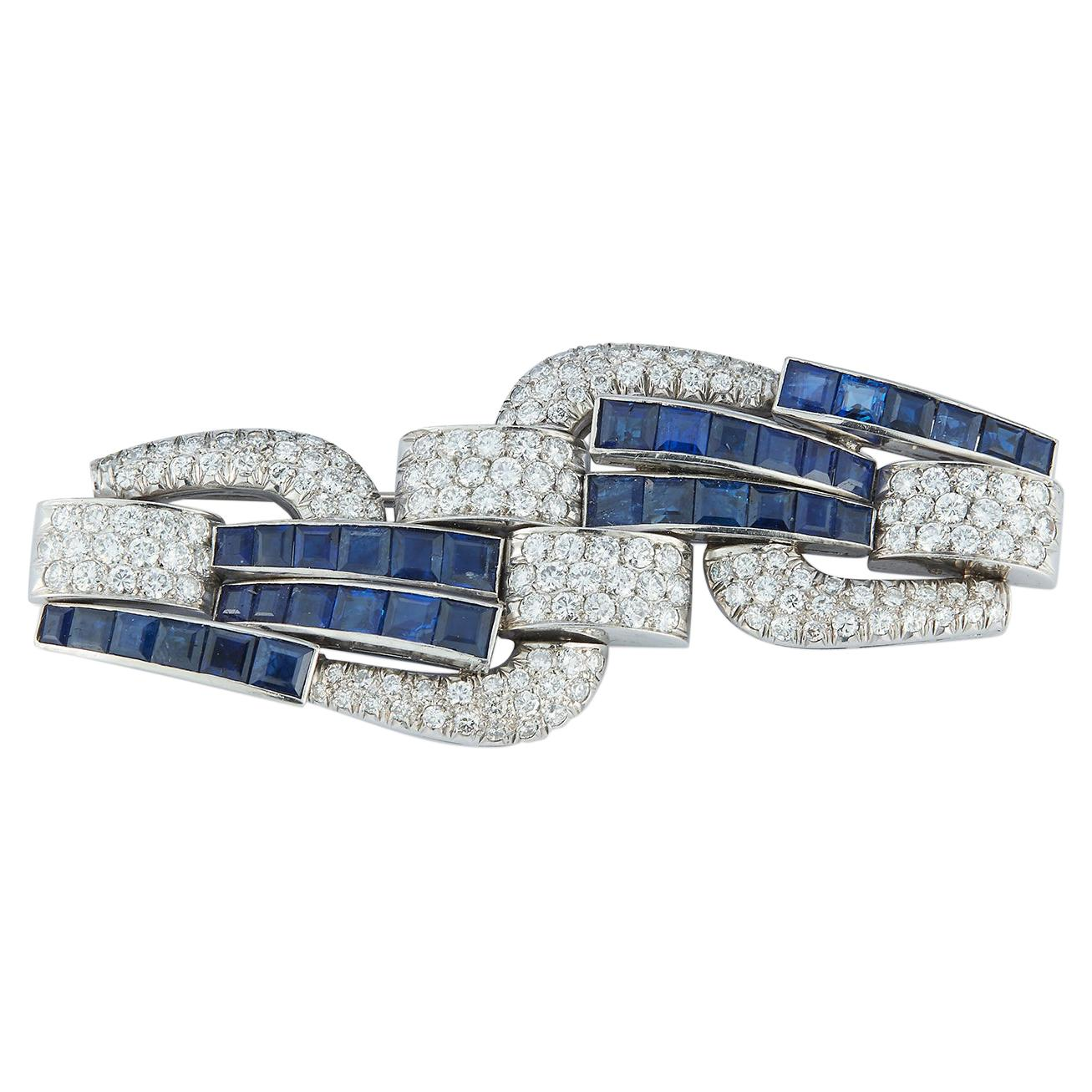 Art Deco Sapphire and Diamond Geometric Brooch