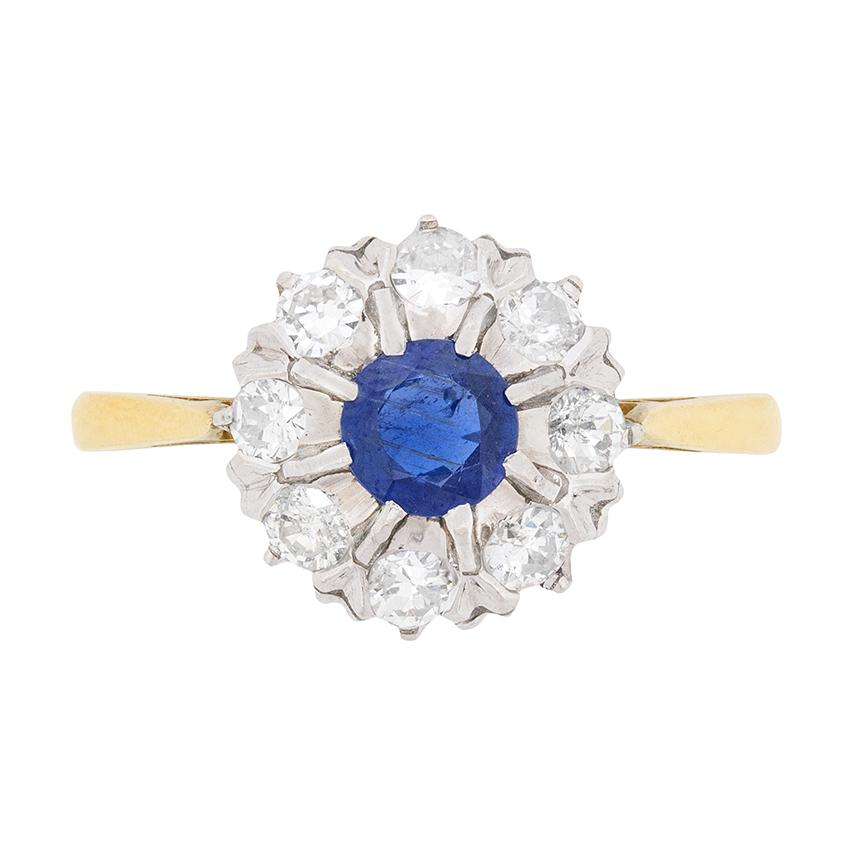 Art Deco Sapphire and Diamond Halo Ring, circa 1930s