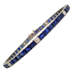 Art Deco Sapphire and Diamond Line Bracelet Set in Platinum
