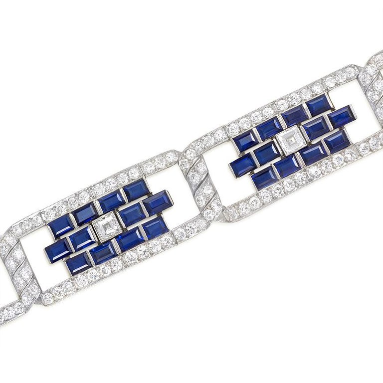 Women's or Men's Art Deco Sapphire and Diamond Open Plaque Link Bracelet in Platinum For Sale