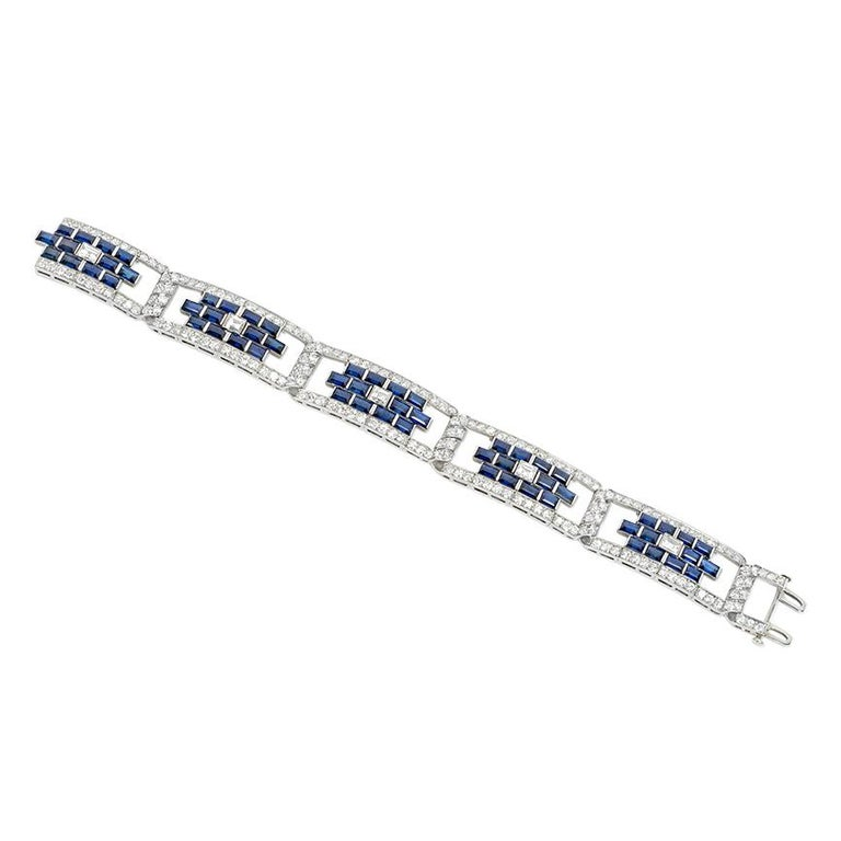 Emerald Cut Art Deco Sapphire and Diamond Open Plaque Link Bracelet in Platinum For Sale