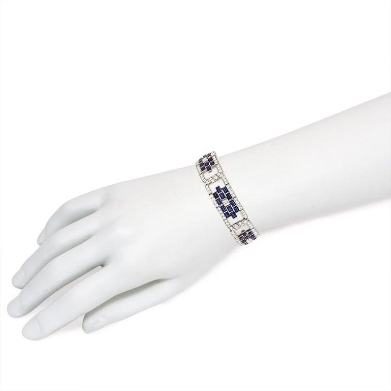 Art Deco Sapphire and Diamond Open Plaque Link Bracelet in Platinum For Sale 1