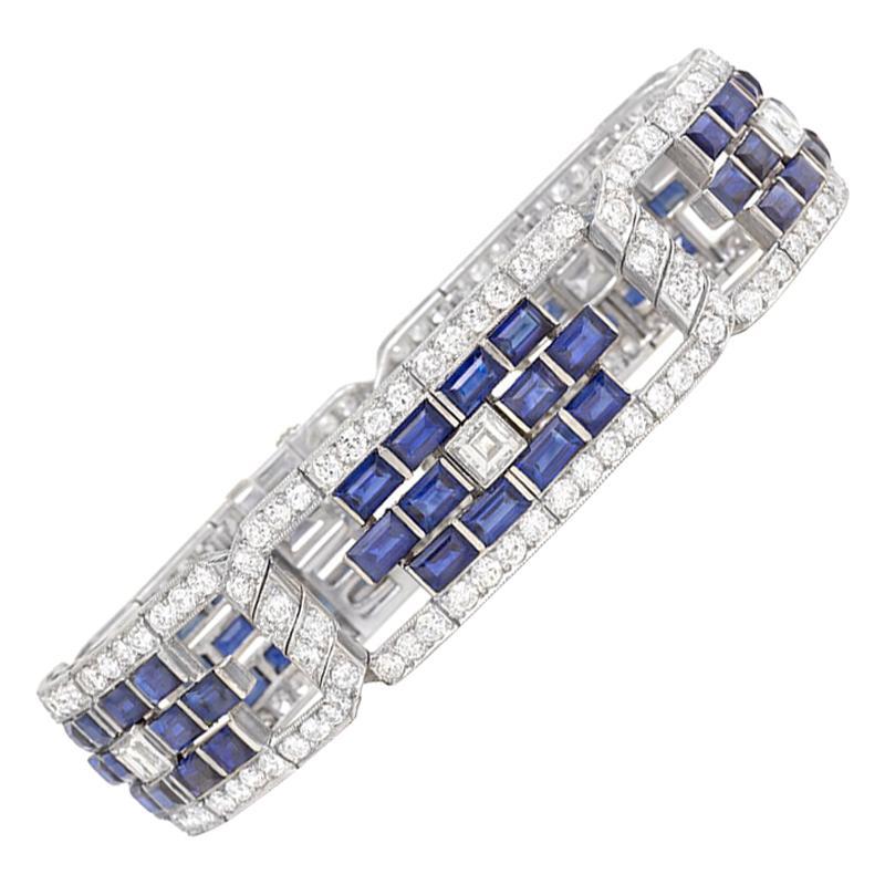 Art Deco Sapphire and Diamond Open Plaque Link Bracelet in Platinum