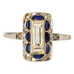 Art Deco Sapphire and Diamond Panel Ring
