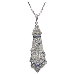 Art Deco Sapphire and Diamond Pendant with Chain