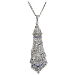 Art Deco Sapphire and Diamond Pendant with Chain
