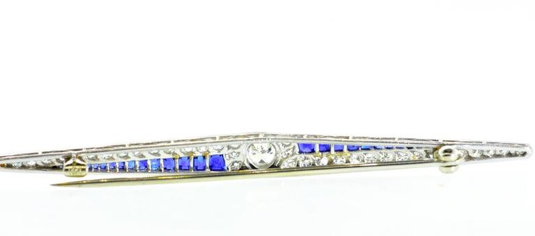 Art Deco Sapphire and Diamond Pin, circa 1920 In Excellent Condition For Sale In Aspen, CO