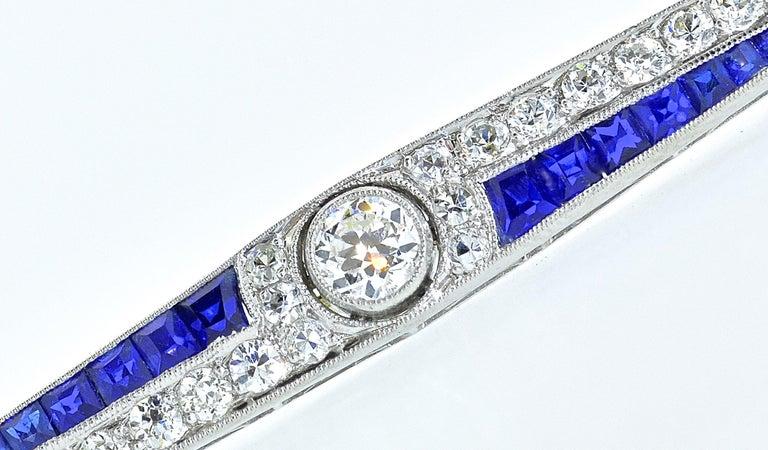 Art Deco Sapphire and Diamond Pin, circa 1920 For Sale 1
