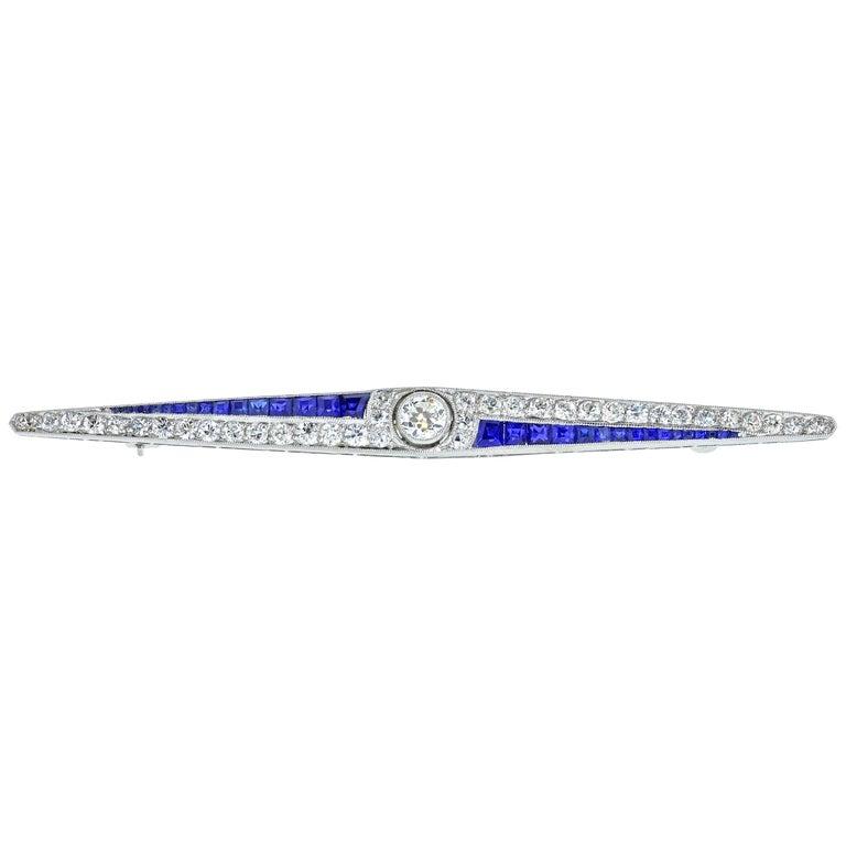 Art Deco Sapphire and Diamond Pin, circa 1920 For Sale