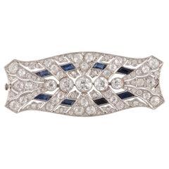 Art Deco Sapphire and Diamond Plaque Brooch, circa 1930