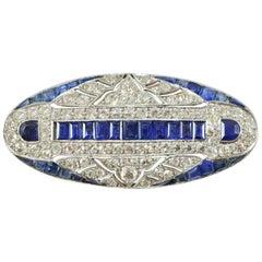 Art Deco Sapphire and Diamond Platinum Brooch