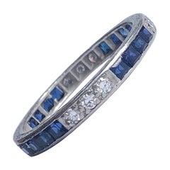 Art Deco Sapphire and Diamond Platinum Cropp & Farr Eternity Band