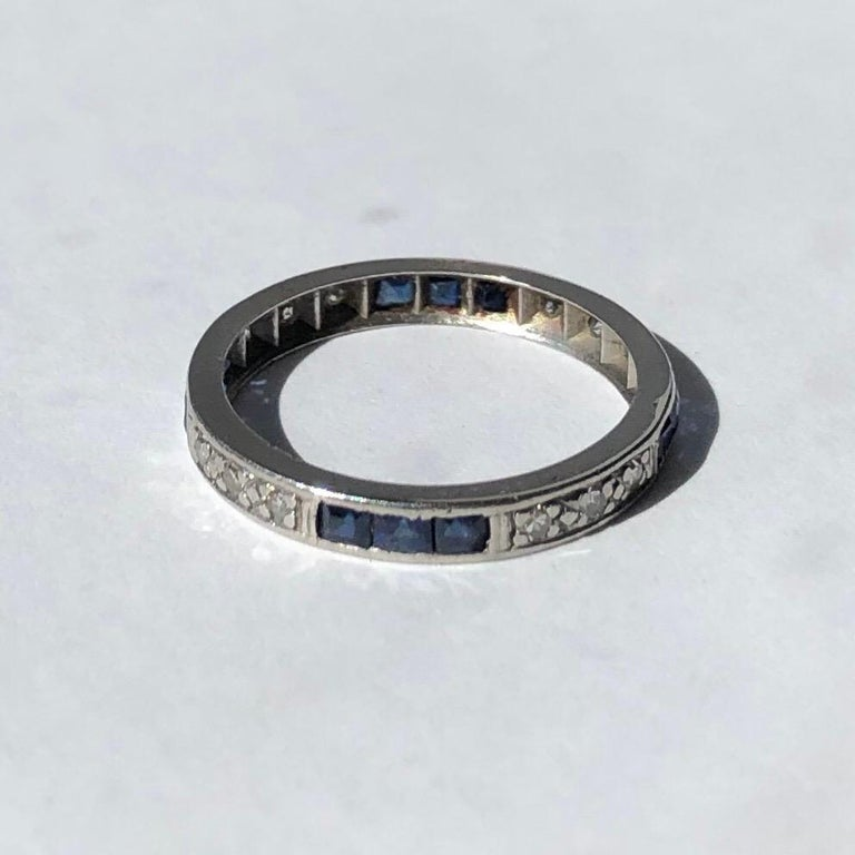 Square Cut Art Deco Sapphire and Diamond Platinum Eternity Band For Sale