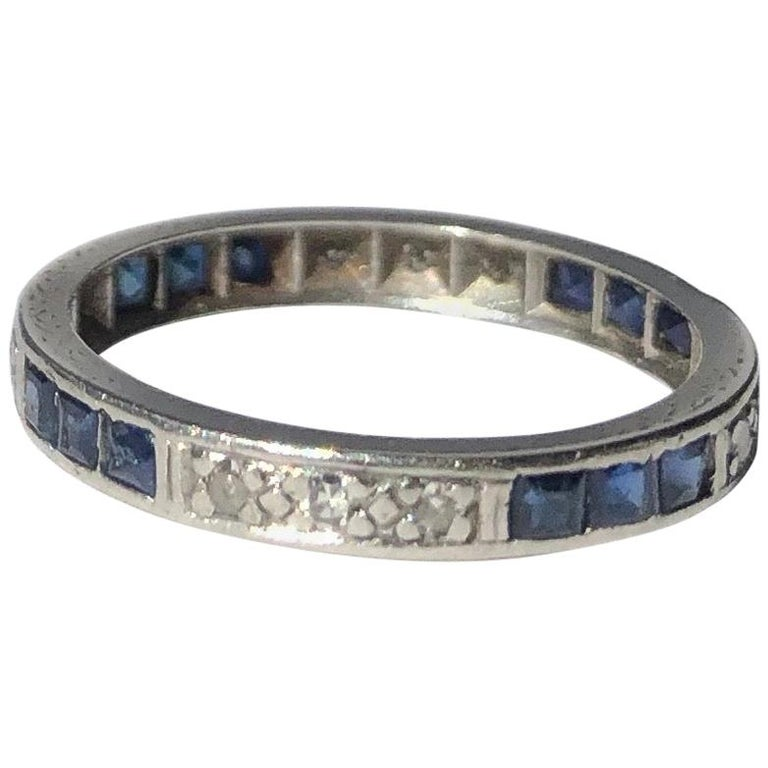 Art Deco Sapphire and Diamond Platinum Eternity Band For Sale