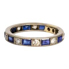 Art Deco Sapphire and Diamond Platinum Eternity Ring