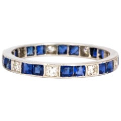 Art Deco Sapphire and Diamond Platinum Full Eternity Band