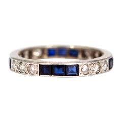 Art Deco Sapphire and Diamond Platinum Full Eternity Band