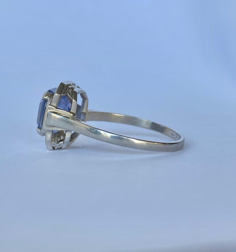 Emerald Cut Art Deco Sapphire and Diamond Platinum Panel Ring, Certified For Sale
