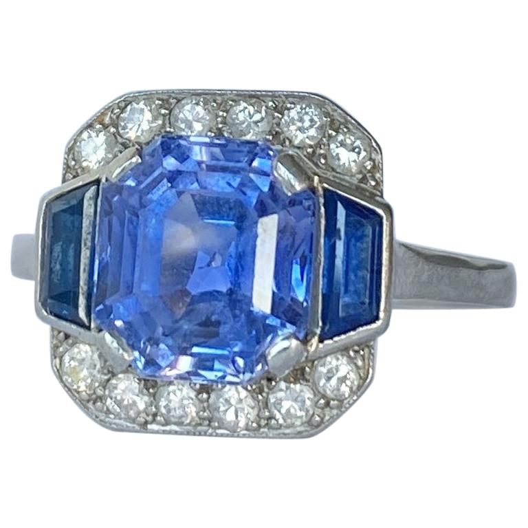 Art Deco Sapphire and Diamond Platinum Panel Ring, Certified For Sale