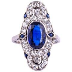 Art Deco Sapphire and Diamond Platinum Panel Ring