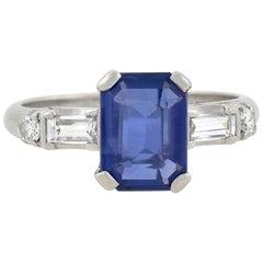 Art Deco 1.82 Carat Sapphire and Diamond Ring