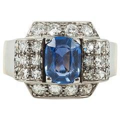 Art Deco Saphir und Diamant-Ring