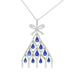 Art Deco Sapphire and Diamond Set Platinum Pendant