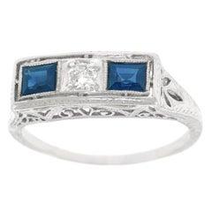 Art Deco Sapphire and Diamond Set Platinum Ring